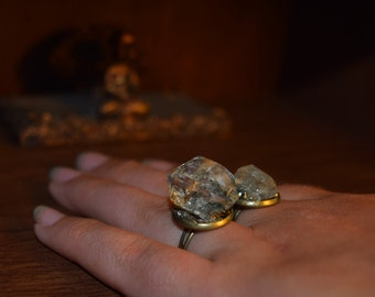 Herkimer Quartz Crystal Adjustable Ring with Pyrite
