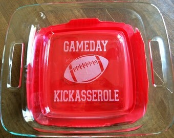 Gameday Kickasserole with Football Tailgaiting Gift Football Fan Etched Glass 2 Quart 8 X 8