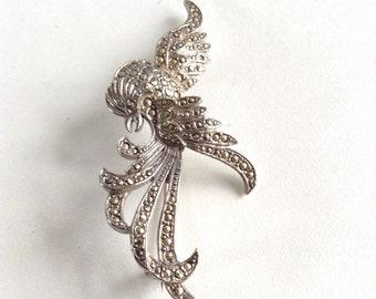 Marcasite bird brooch