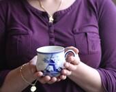 Delft Blue D.A.I.C. Mug with Flowers and Windmill Vintage Porcelain Mug
