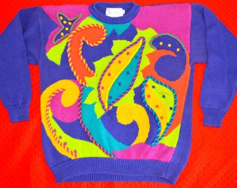 Vintage Retro Sweater, Medium, Santoria, ugly christmas sweater, abstract , 80's halloween costume