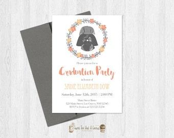 Star Wars Graduation Party Invitation Graduate Darth Vader Printable Digital File or Printed Prints Class of 2016 Geek Nerd Invite Floral