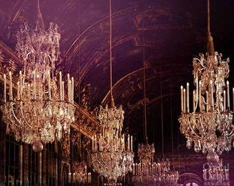 Chandelier Wall Art, Versailles,  Paris Photography, Travel Photography, Chandelier Print, French Decor, Pink, Purple, Black, Gold