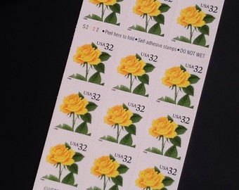 Yellow Rose Unused Postage Stamps
