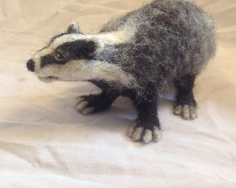 Needle Felted Badger Sculpture - wool animal model - badger with armature