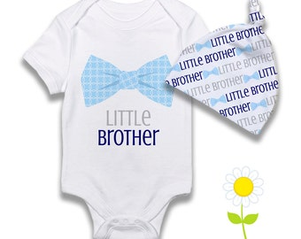Little Brother Bow Tie Bodysuit or Gown & Knotted Hat - Boy Infant Hat, One-Piece w/ Bow Ties - Newborn Coming Home Outfit - Baby Boy Gift