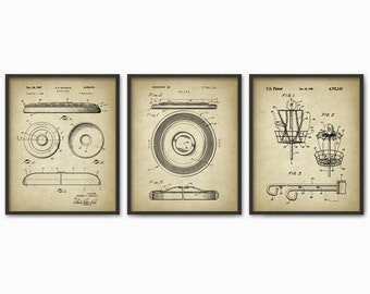 Frisbee Patent Print Set of 3 - Frisbee Design - Flying Disc Patent - Frisbee Invention - Frisbee Decor - Frisbee Players - Dorm Decor