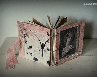 Handmade Pink Vintage Art Journal, Mini Journal, Notebook, Mixed Paper Journal, Blank Journal, Visual Diary, Logbook