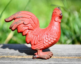 Barn Red Rooster Metal Knob - Farm Animal Drawer Pull - Nursery ...