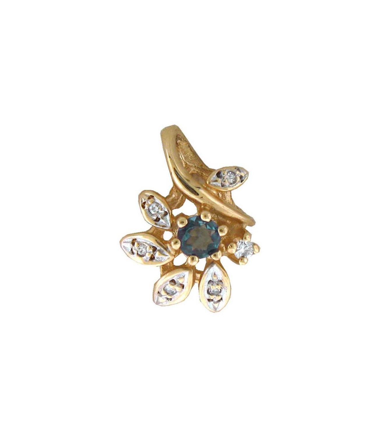 NATURAL Alexandrite Diamond Pendant In 14K Yellow Gold With