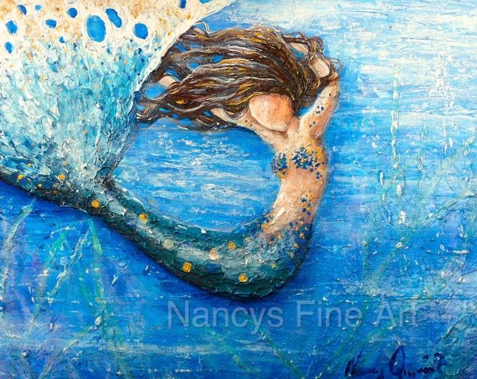 Original abstract mermaid art wall print, blue mermaid  painting, brown haired mermaid on canvas. Original art by Nancy Quiaoit
