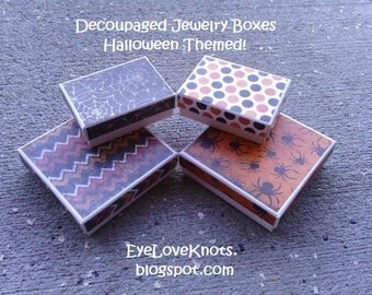 Halloween Themed Decoupaged Jewelry Boxes - Custom Made Jewelry Boxes