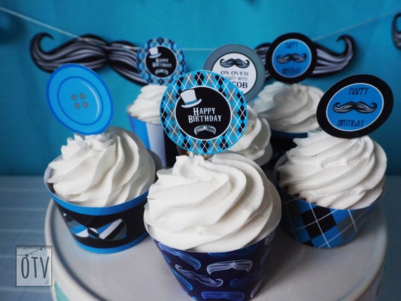 MUSTACHE Bash - Baby Shower - 1st Birthday - CUPCAKE Toppers - Baby Boy - Black - Blue - Personalised - PRINTABLE - Pdf - Digital File