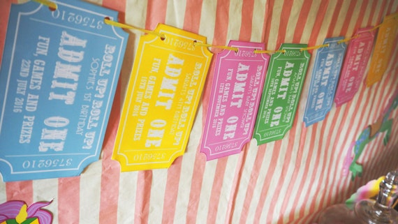 CARNIVAL - Fair Ground - Personalized - Childrens - Birthday - Baby Shower - Pastel - Ticket Bunting - Banner - Garland - PRINTABLE - Pdf