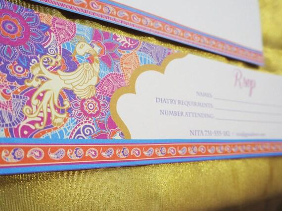 ASIAN - Wedding - RSVP Card - Mehndi - Henna - Purple - Gold - Purple - Pink - Peacock - Personalized - Printable - PDF - Digital