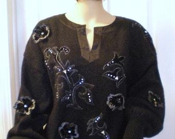 Escada-Sweater-Margaretha-Ley-Gorgeous-Vintage-HTF Long Fancy Mohair Sweater
