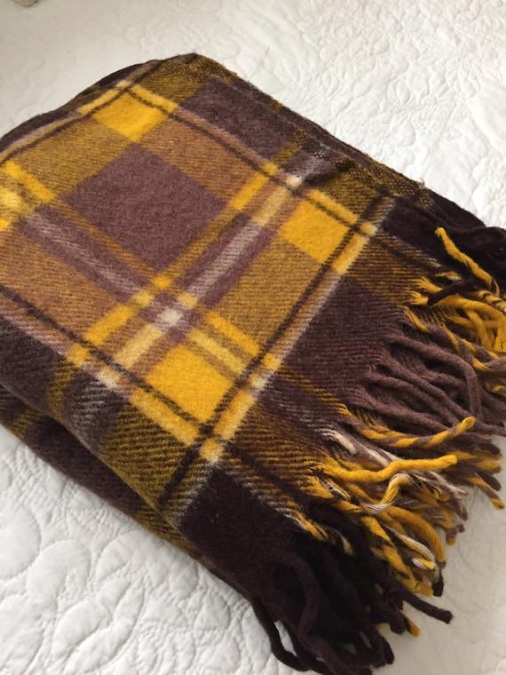 Vintage Wool Blanket Plaid Wool Throw Stadium Blanket