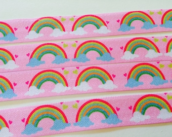 5 Yards Pink Rainbow Clouds 5/8 inch 16mm FOE Elastic for hair ties and headbands