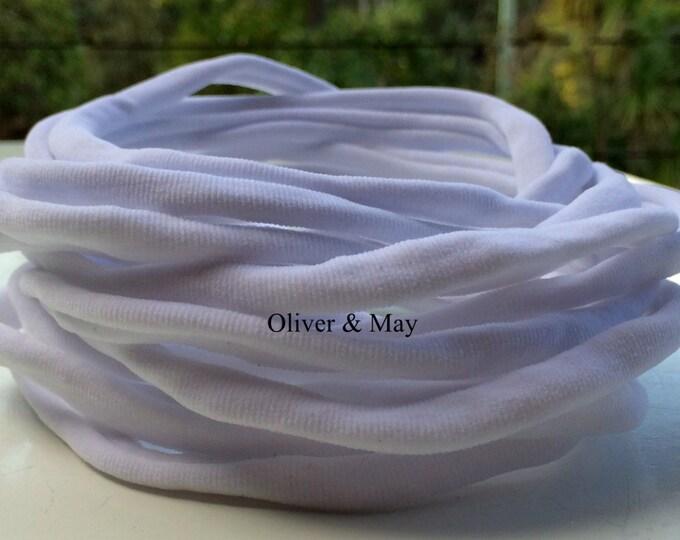 10 Pieces - Wholesale Nylon Headbands Baby Headbands Adult Headbands Bulk Nylon Headbands 8mm 30-34 cm   WHITE   International Shipping