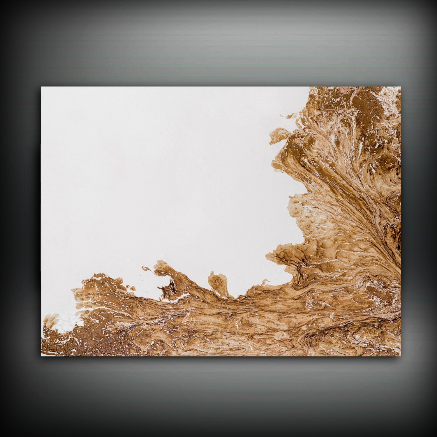 Wall Art Canvas Brown : Brown and white painting abstract copper