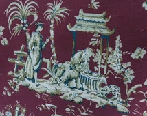 Chinese Stlye Vintage Fabric on Red Background, Asian Fabric, Cotton Print, JIM Thompson, 54 width