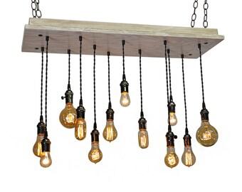 Industrial Lighting -  Farmhouse Industrial - Shabby Chic Chandelier,  Beach House Light Fixture, Rustic Lighting, Bare Bulb Pendants