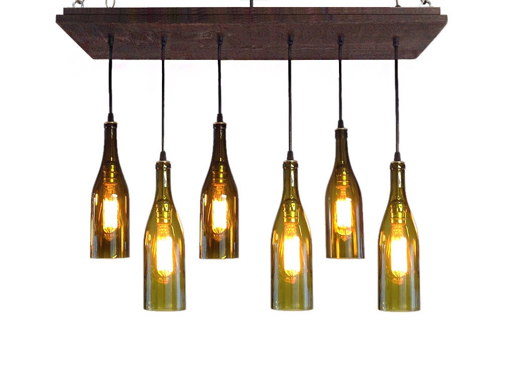 Wine bottle chandelier rustic chandelier modern lighting for How to make your own wine bottle chandelier