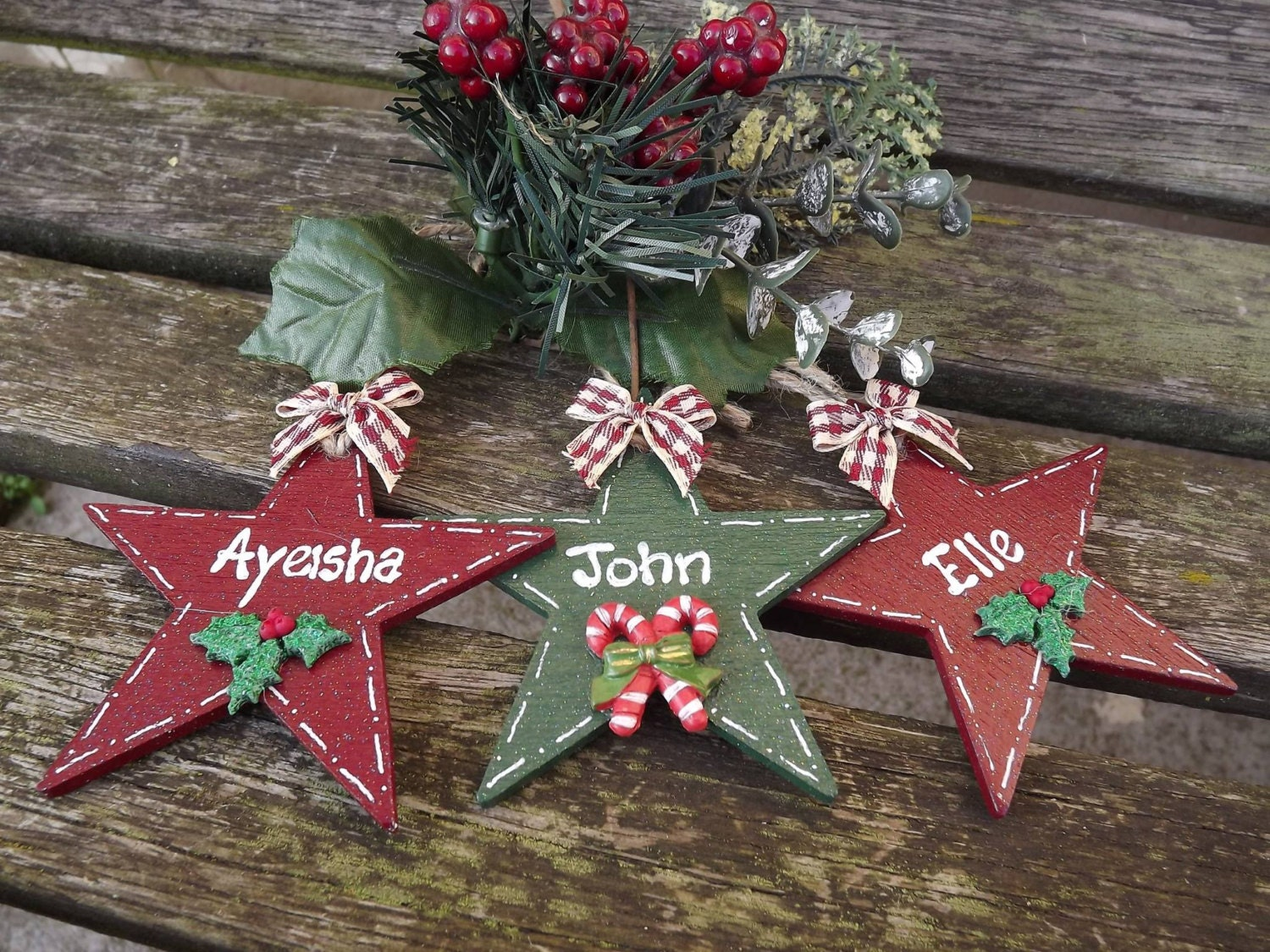 PERSONALISED CHRISTMAS STAR Hand-painted Wooden Xmas Tree