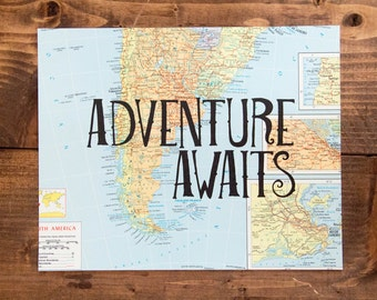 "Southern South America Map Print, Adventure Awaits, Great Travel Gift, 8"" x 10"" Letterpress Print"