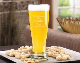 Groomsmen Pilsner Glass - Engraved Pilsner 20 oz. - Personalized Beer Glass - Gifts for Him -  (1425)