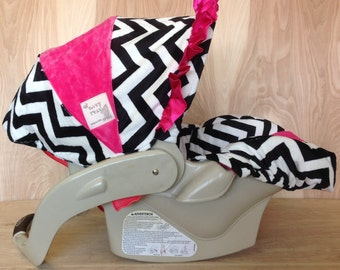 Infant Car Seat Cover- Hot Pink and Chevron