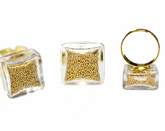 Glass Bottle Vial Square Ring w Beads Gold/Silver/Black