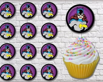 "INSTANT DOWNLOAD - Batgirl 2"" Circles for Cupcake Toppers and Birthday Party Decorations Digital PDF Instant Download File"