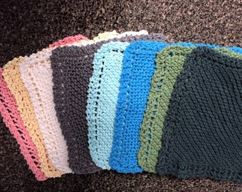 Knit Dish Cloths Set of two cotton yarn knit dish clothes various colors white yellow green pink gray