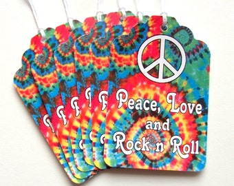 Tie Dye Tags, Peace, Love and Rock n Roll, 60's, 70's, 80's, Theme, Hippie Wedding, Peace Sign, Gift Tags, Favor Bag, Set of 6 or 12 Tags