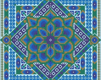 Peacock Mandala Cross Stitch ONLY PDF chart by Northern Expressions Needlework