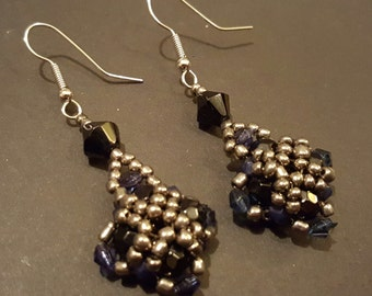 Blue and silver beaded drop earrings