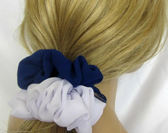 Royal Blue and White Spirit Bows, White and Royal Blue Team Colors, Gifts for Sports Fans