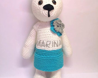 Personalized crochet bear