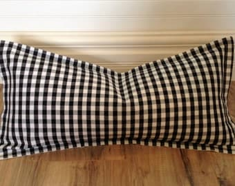 Black and White Check Pillow Cover, 12 x 24