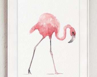 Flamingo Art Print, Pink Home Decor, Tropical Wall Art, Beach Art Animal Painting