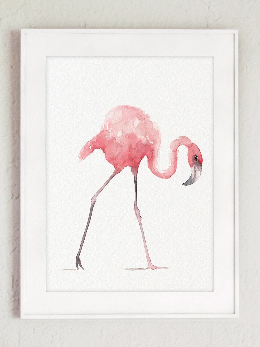 Flamingo art print pink home decor tropical wall art beach for Pink wall art