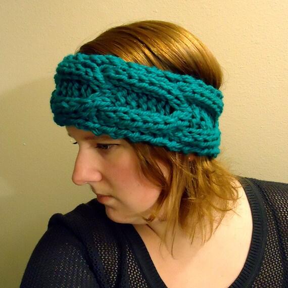Chunky Cable Knit Headband Pattern : Chunky Knit Headband pattern - horseshoe cables - chunky yarn - instant downl...