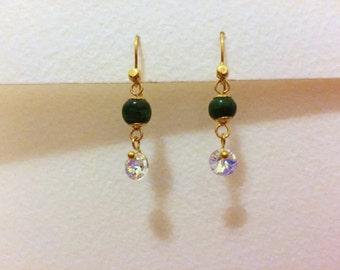 Malachite and Swarovski crystal earrings