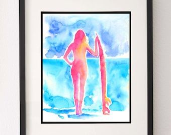 Surfer Girl, Watercolour Print, Girls Surf Decor, Surf Board Decor, Surf Board Wall Art, Beach House Decor, Surfing Poster, Boyfriend Gift