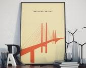 Oresund Bridge, Sweden to Denmark, Print. Poster.