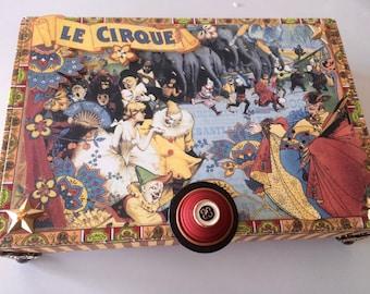 The Circus Memory Box Jewelery Box Keepsake Box Embellished Box Altered Cigar Box