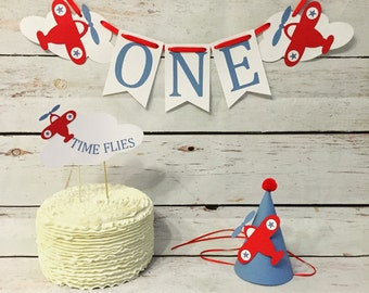 Ultimate cake smash package, time flies, time flies birthday, first birthday, boys birthday hat, cake topper, high chair banner
