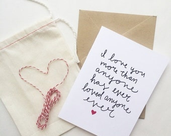 ON SALE Sweet and quirky love card, anniversary, wedding, simple way to say I love you