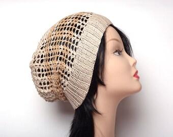 Beige hat Summer beanie crochet hat cotton beanie